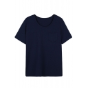 Round Neck Plain Short Sleeve Pocket Tee