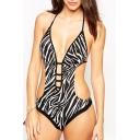 Zebra Stripes Halter Hipster Monokini