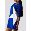 Star Paneled Color Block Round Neck Shift Dress
