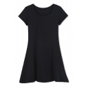 A-Line Round Neck Short Sleeves Plain T-Dress