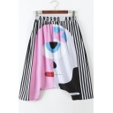 Elastic Wait Color Block Abstract Character Print Striped Drop Crotch Harem Pants