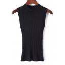 Stand Collar Sleeveless Tight Knit Vest