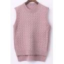 Round Neck Sleeveless Dip Hem Lose-Fit Sweater Vest