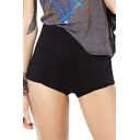 Plain High Waist Super Skinny Zipper Fly Hot Shorts