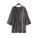 Loose Fit Plain Crochet Sleeve Hem Kimono