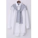Collared Dip Hem Tie Decor Striped Shirt