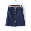 Button Down Pockets A-line Mini Denim Skirts