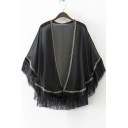Comfortable Chiffon Blend Open-Front Loose Tassel Trim Ethnic Kimono