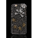 Black 3D Skull & Seastar Pattern Rhinestones Rivet Design Hard Case for iPhone