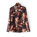 Sheer Vintage Floral Print Lapel Invisible Buttons Shirt