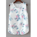 Floral Print Sleeveless Chiffon Patchwork T-Shirt
