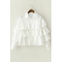 Plain Lapel Ruffled Buttons Down Cotton Shirt