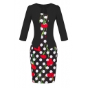 Notched 3/4 Sleeve Floral & Dot Print Bodycon
