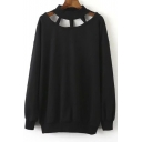 Jewel Neck Cut-out Yoke Plain Pullover