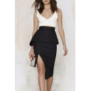 Chic High Waist Black Split Front Midi Lady's Sexy Skirts