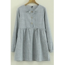 Spring New Round Neck Long Sleeves Striped Bow Embellish Smock Blouse&Dress