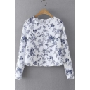 Round Neck Long Sleeve Floral Print Blouse&Tops
