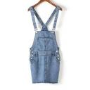 Straps Pockets&Button Embellish Mini Fray Hem Slim Fit Denim Overall Dress