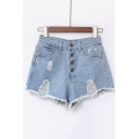 New High Waist Button Fly Ripped Fray Hem Denim Hot Shorts