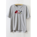 Round Neck Short Sleeve Famous Cartoon Character Embroidery Casual T-Shirt