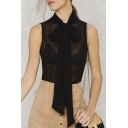 Tie-Neck Sleeveless Sexy Slim Fit Sheer Blouse With Bows Embellish