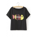 Cute Fishbone Print Short Sleeve Scoop Neck Funny Tee