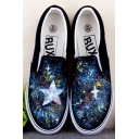 Cool Hand-Painted Galaxy Canvas Platform Sneakers For Women