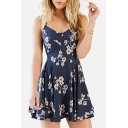 Trendy Floral Printed Surplice Collar Sleeveless Short A-Line Slip Dress for Women