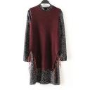 Tassel Hem Knitted Vest Sheer Polka Dot Dress (Two Pieces Suits)