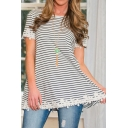 Striped Round Short Sleeves Looes Applique Embellish Tee&Tops