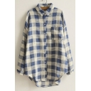 Lapel Plaid Long Sleeves Button Through High Low Hem Single Pocket Shirts&Blouse
