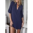 V Neck Cuffed Sleeve Loose Fit Mini Dress