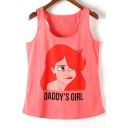 Square Neck Sleeveless Girls Print Cute Tank