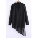 Fashion Black Stand Up Collar Button Down Long Sleeve High Low Asymmetrical Hem Long Shirt&Blouse