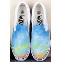 Colorful Hand-Painted Scrawl Sky Sneakers For Women