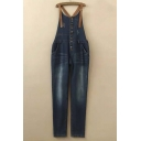 Button Fly Pocket Embellish Denim Overall Jeans
