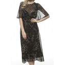 Sheer Vintage Floral Print Bell Sleeves Chiffon Midi Dress