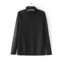 Black High Neck Sheer Long Sleeves Base Shirt