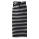High Waist Elastic Waist Striped Maxi Pencil Skirt