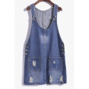 Pretty Scoop Neck Sleeveless Side Button Denim Dress
