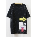 Personality Young Style Round Neck Half Sleeves Letter Print Loose Longline Tee