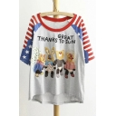 Funny Cartoon Applique Color Block Half Sleeve Scoop Neck Letter Print High Low Tee with Striped Sleeve Embellish