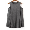 Cut Out Shoulder Round Neck Long Sleees Plain Tee