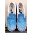 Hand-Painted Blue Sky Platform Sneakers For Women