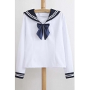 Nautical Style Striped Lapel Bow Embellish Long Sleeves Loose Blouse