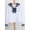 Nautical Style Striped Lapel Bow Embellish Long Sleeves Loose Blouse
