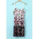 Lace Detailed Gradient Floral Print Cami Dress