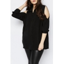 Street Style Black Long Cut Out Sleeves Button Through Loose Blouse&Tops
