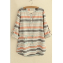 Colored Printed Button Front Dip Hem Boxy Blouse
