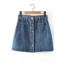 High Waist Button Fly Pockets Embellish A-Line Mini Denim Skirts
